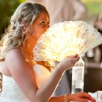 bride and hand fan